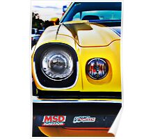 Yellow Camaro front light Poster