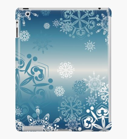 Blue Background with Snowflakes 4 iPad Case/Skin