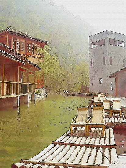 Water Village (Watercolor) by Jennifer Lam