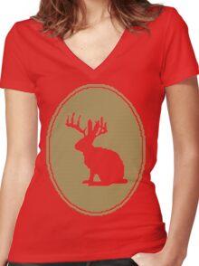 Rabbit Design Women's Fitted V-Neck T-Shirt