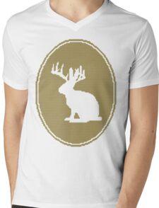 Rabbit Design Mens V-Neck T-Shirt