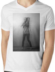 Black & White Motion Blur  Mens V-Neck T-Shirt