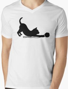 Playful Kitten Mens V-Neck T-Shirt