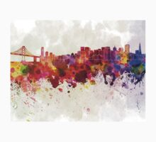 San Francisco skyline in watercolor background Kids Tee