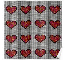 knitted hearts Poster