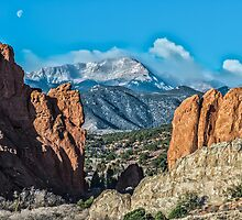 Pike's Peak at Sunrise and Moonset by Briar Richard