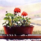 Red Geranium on Window Sill by Cathy Holtom