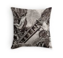 Slow Flood on the Way with Scared Cow. Throw Pillow