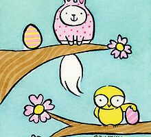 Pink Bunny Easter Cat in with Wide Eyed Chick by zoel