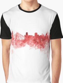 Sao Paulo skyline in red watercolor on white background Graphic T-Shirt