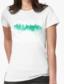 Sao Paulo skyline in green watercolor on white background Womens Fitted T-Shirt