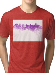 Sao Paulo skyline in purple watercolor on white background Tri-blend T-Shirt