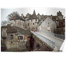 Marj on bridge on road through Carennac 19840227 0056  Poster