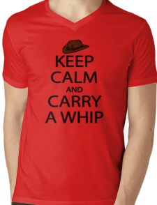 keep calm and carry a whip. Mens V-Neck T-Shirt