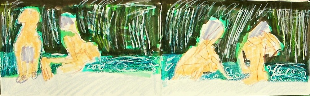 four views of a woman bathing in waterfall by donna malone