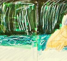 four views of a woman bathing in waterfall by donnamalone