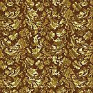 Gold And Brown Tones Vintage Elegant Floral Damasks by artonwear