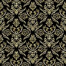 Black And Gold Vintage Floral Damasks Pattern by artonwear