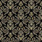 Black And Gold Vintage Floral Damasks Pattern by artonwear