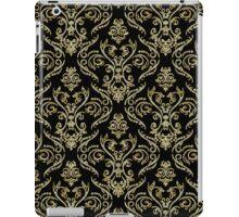 Black And Gold Vintage Floral Damasks Pattern iPad Case/Skin