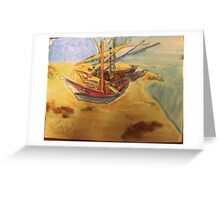 AnOther OReilly ORiginal Painting reflections a humboldt bay crabbing boats on sonoma dunes sand dunes  Greeting Card