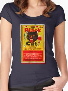 Black Cat Fireworks T-Shirt Women's Fitted Scoop T-Shirt