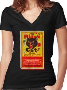 Black Cat Fireworks T-Shirt Women's Fitted V-Neck T-Shirt