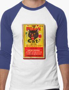 Black Cat Fireworks T-Shirt Men's Baseball ¾ T-Shirt