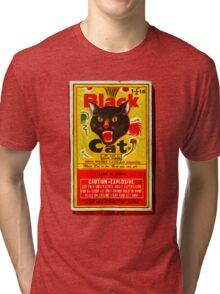 Black Cat Fireworks T-Shirt Tri-blend T-Shirt