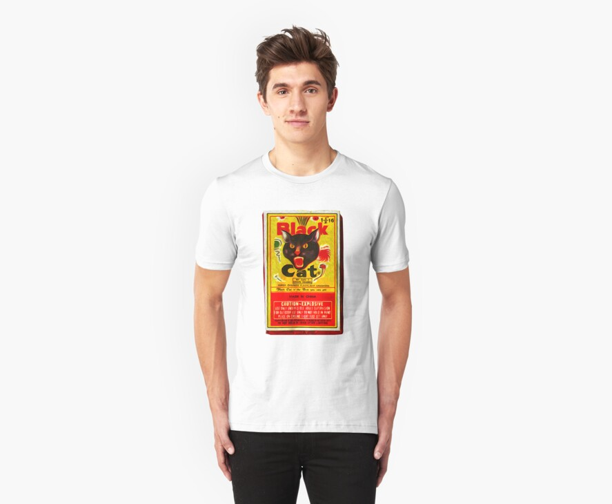 Black Cat Fireworks T-Shirt by Gregory Dyer
