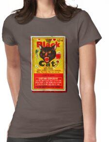 Black Cat Fireworks T-Shirt Womens Fitted T-Shirt