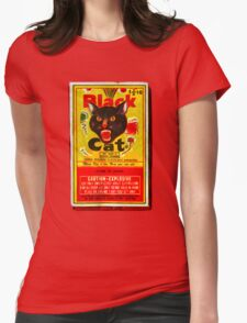 Black Cat Fireworks T-Shirt Womens Fitted T-Shirt