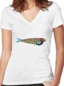 Symbols of Portugal - Cool Rooster Sardine Mix Women's Fitted V-Neck T-Shirt