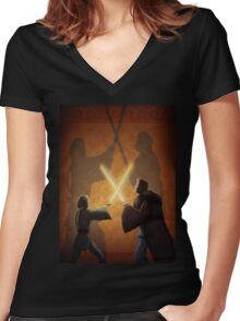 Master and Padawan Women's Fitted V-Neck T-Shirt