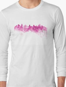 Sao Paulo skyline in pink watercolor on white background Long Sleeve T-Shirt