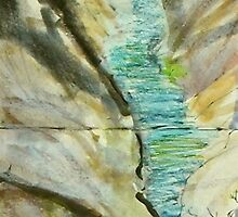 waterfall with bubbles and paint by donnamalone