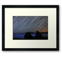 Raining Stars, Glowing Sea Framed Print