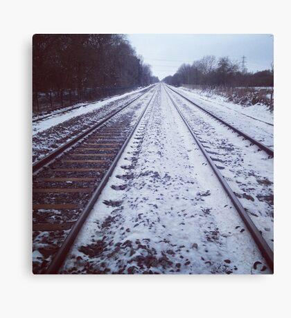 Rail track. Snow. Canvas Print