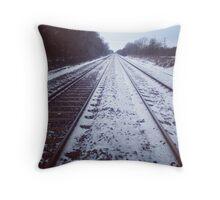 Rail track. Snow. Throw Pillow