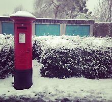 Pillar Box. Snow. by Robert Steadman