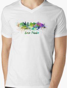 Sao Paulo skyline in watercolor Mens V-Neck T-Shirt