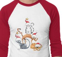 Kazart Xmas Cat Stack Tee Men's Baseball ¾ T-Shirt