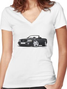 Mercedes SL (R129) Black Women's Fitted V-Neck T-Shirt