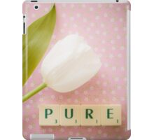 Pure - White tulip and Scrabble tiles. iPad Case/Skin