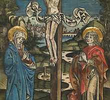 Christ on the Cross with Mary and Saint John, from the Missale Defunctorum, c,1499 by Bridgeman Art Library