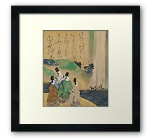 Nobles Viewing the Nunobiki Waterfall, c.1643 Framed Print