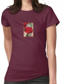 Whispers of Passion and Love Red Rose Greeting Card Womens Fitted T-Shirt