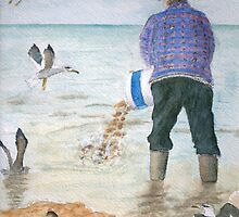 Feeding the gulls by HurstPainters