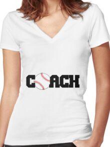Baseball Coach Women's Fitted V-Neck T-Shirt