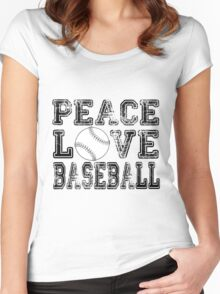 Peace, Love, Baseball Women's Fitted Scoop T-Shirt